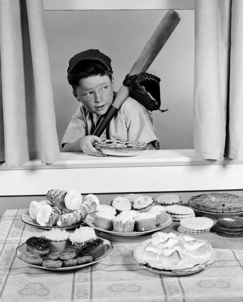 Sneak Photograph - 1950s Boy In Baseball Garb With Bat by Vintage Images