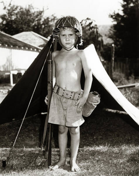 Space Gun Photograph - 1950s Boy Playing Soldier Standing by Vintage Images