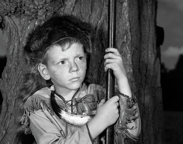 Western Costume Photograph - 1950s Boy Wearing Raccoon Skin Hat by Vintage Images