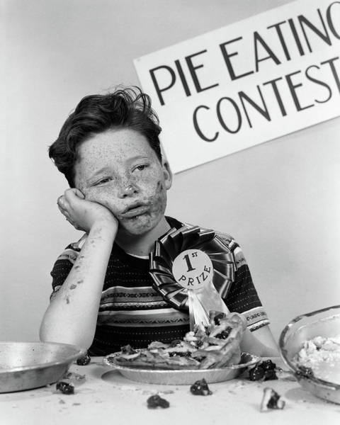 Sick Photograph - 1950s Boy Wins 1st Prize At Pie-eating by Vintage Images