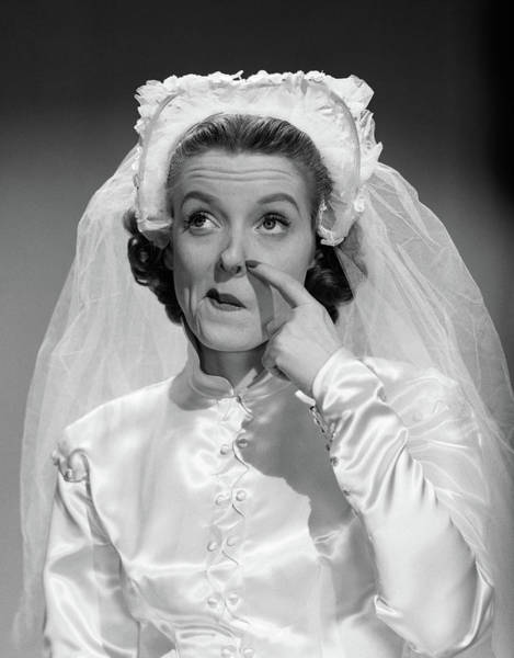 Vows Photograph - 1950s Bride Scratching Nose And Looking by Vintage Images