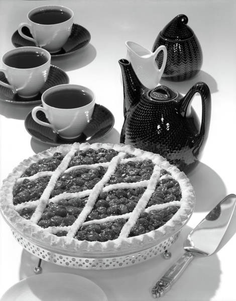 Crisscross Wall Art - Photograph - 1950s Cherry Pie Dessert With 3 Cups by Vintage Images