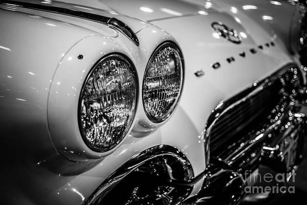 1957 Chevrolet Photograph - 1950's Chevrolet Corvette C1 In Black And White by Paul Velgos