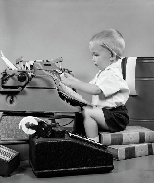 Bookkeeper Photograph - 1950s Child Typing Sitting At Typewriter by Vintage Images