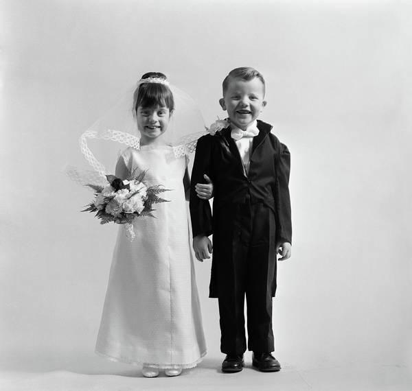 Dressing Photograph - 1950s Children Groom Bride Wedding by Vintage Images