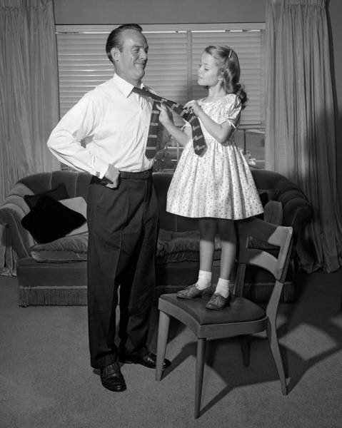 Father Photograph - 1950s Confident Little Girl Standing by Vintage Images