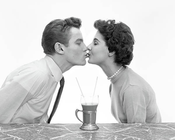 Soda Straws Photograph - 1950s Couple Man Woman Kissing Profile by Vintage Images
