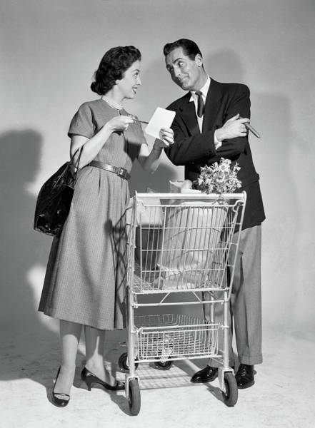 Checking Photograph - 1950s Couple Man Woman Shopping Cart by Vintage Images