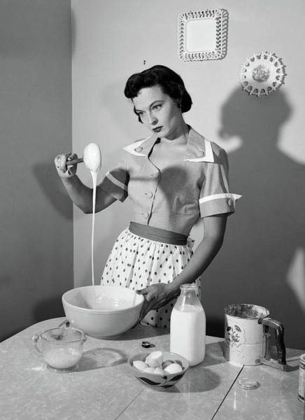Disgusting Photograph - 1950s Distracted Housewife Mixing by Vintage Images