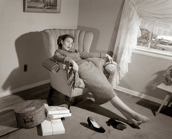 Weary Photograph - 1950s Exhausted Female Slumped In Chair by Vintage Images