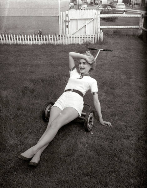 Short Cut Photograph - 1950s Exhausted Woman Wearing White by Vintage Images