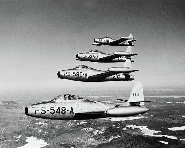 Vintage Airplane Photograph - 1950s Four Us Air Force F-84 Thunderjet by Vintage Images