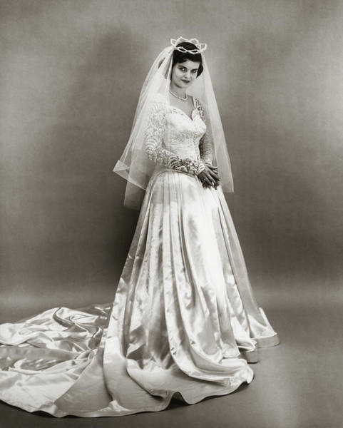 Wall Art - Photograph - 1950s Full Length Portrait Bride by Vintage Images