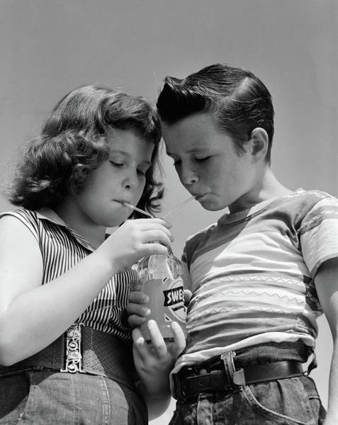 Soda Straws Photograph - 1950s Girl And Boy Share Soda Two by Vintage Images