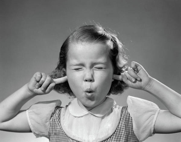 Gesturing Photograph - 1950s Girl With Fingers In Ears Eyes by Vintage Images
