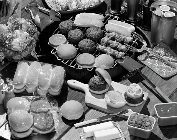 Buns Photograph - 1950s Hamburgers Hot Dogs Buns Cookout by Vintage Images