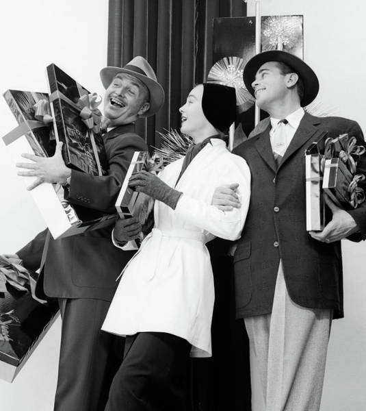 Pleasing Wall Art - Photograph - 1950s Joyous Laughing Woman And Two Men by Vintage Images