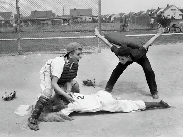 Official Photograph - 1950s Little League Umpire Calling by Vintage Images