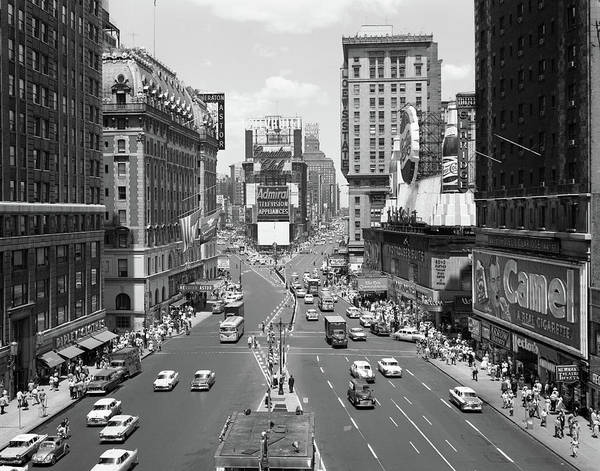 Crossroads Photograph - 1950s Looking North At Times Square by Vintage Images