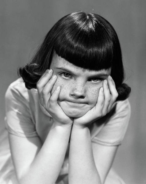 Weary Photograph - 1950s Mad Angry Frustrated Young Girl by Vintage Images