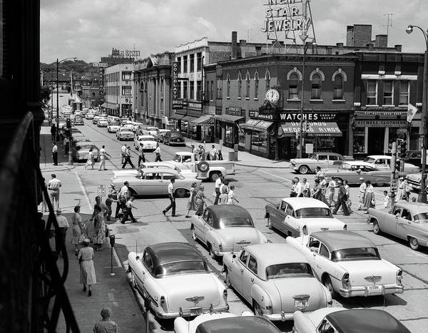 Cass Wall Art - Photograph - 1950s Main Street Small Town America by Vintage Images