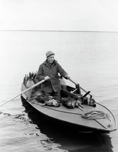 Duck Hunt Photograph - 1950s Man Duck Hunter With Harvest by Animal Images