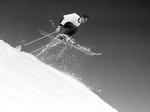 Ski Jumping Photograph - 1950s Man Skier Skiing Down Slope by Vintage Images