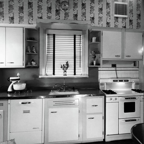 Dressing Photograph - 1950s Modern Kitchen Interior Sink by Vintage Images