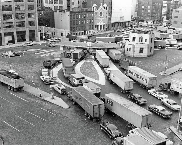 Trailer Photograph - 1950s Overhead Of Traffic Congestion by Vintage Images