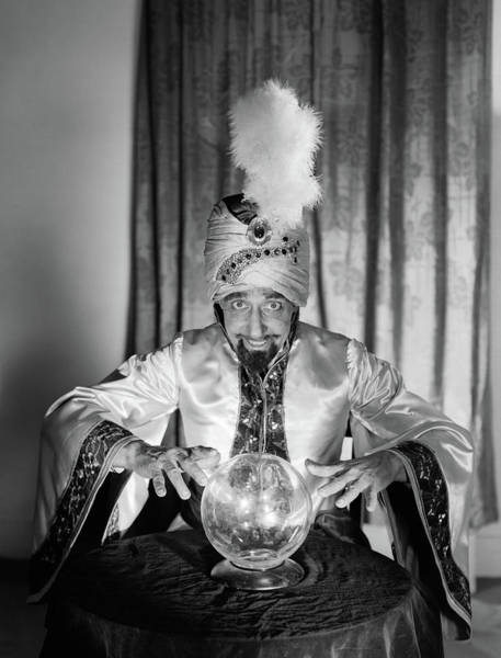 Wizard Hat Wall Art - Photograph - 1950s Portrait Man Soothsayer Swami by Vintage Images