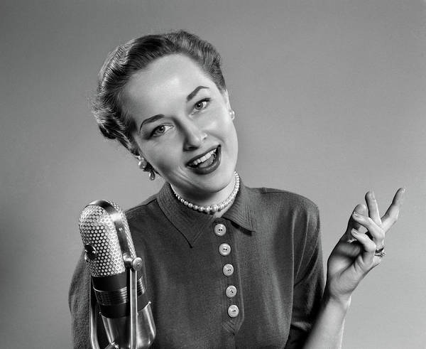Vocalist Photograph - 1950s Portrait Of Woman Singing Or by Vintage Images