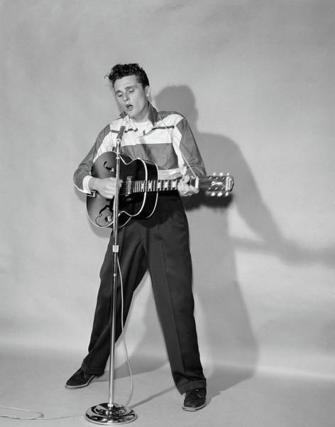 Strum Wall Art - Photograph - 1950s Rockabilly Singer In Front by Vintage Images