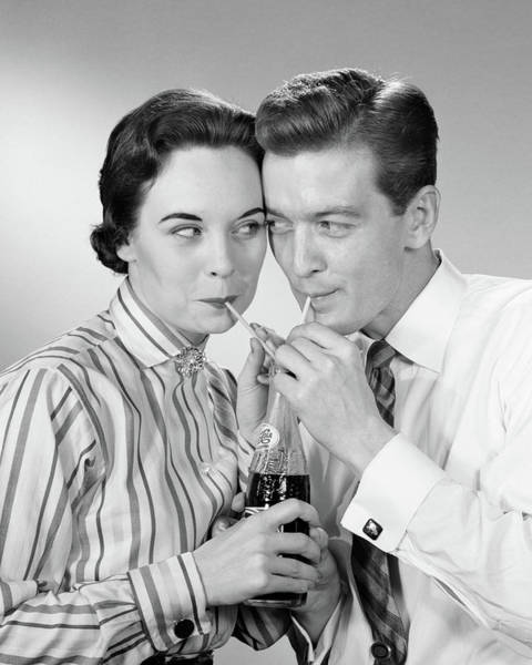 Soda Straws Photograph - 1950s Romantic Couple Head To Head by Vintage Images