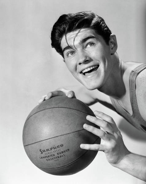 Esteem Photograph - 1950s Smiling Boy Holding Basketball by Vintage Images
