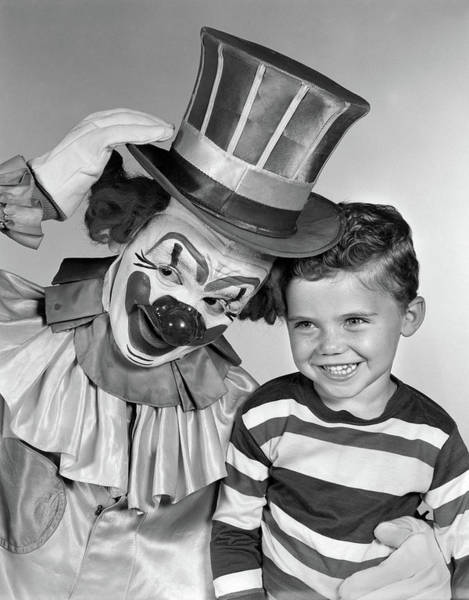Big Boy Photograph - 1950s Smiling Clown With Top Hat Arm by Vintage Images
