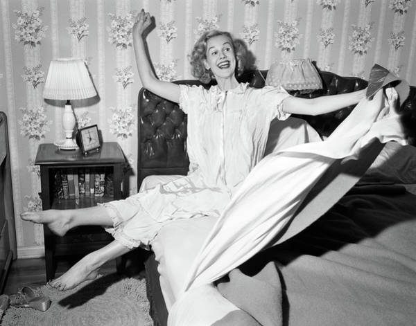 Wake Up Photograph - 1950s Smiling Happy Gleeful Woman by Vintage Images