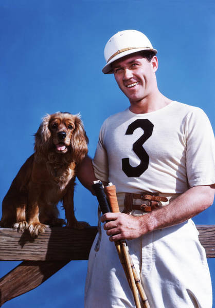 Cocker Spaniel Photograph - 1950s Smiling Man Polo Player Posing by Animal Images