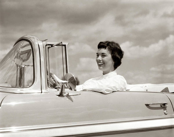 Wanderings Photograph - 1950s Smiling Woman Driving Chevrolet by Vintage Images