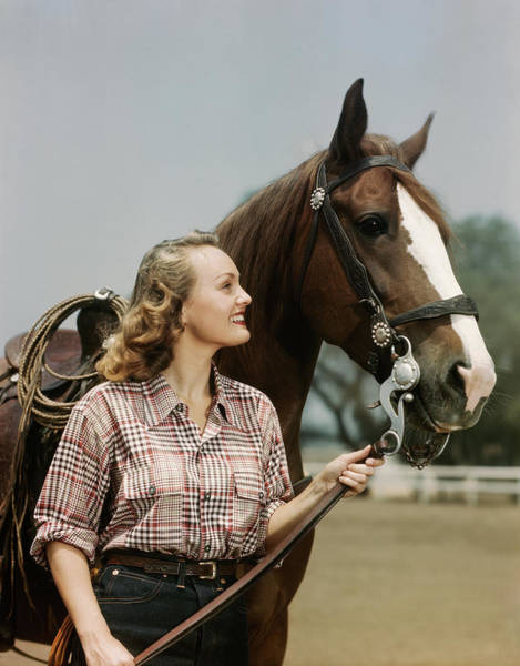 Joyful Photograph - 1950s Smiling Woman Standing By Horse by Vintage Images