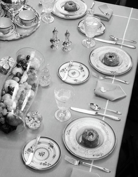 Sterling Silver Wall Art - Photograph - 1950s Table Setting Centerpiece Dinner by Vintage Images