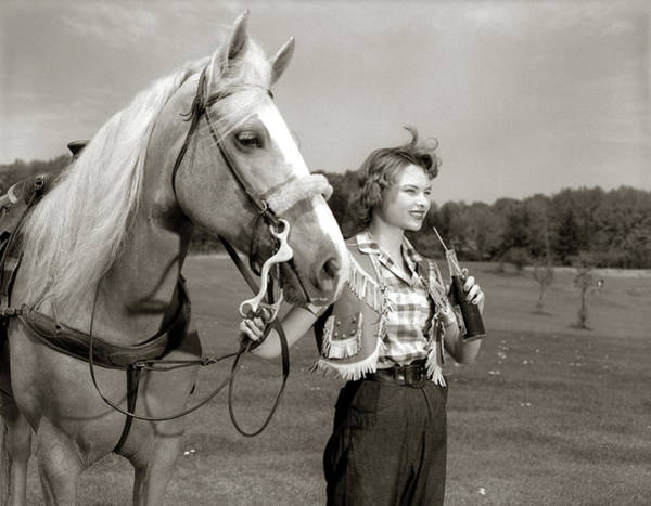 Soda Straws Photograph - 1950s Teenage Girl Western Wear Holding by Animal Images