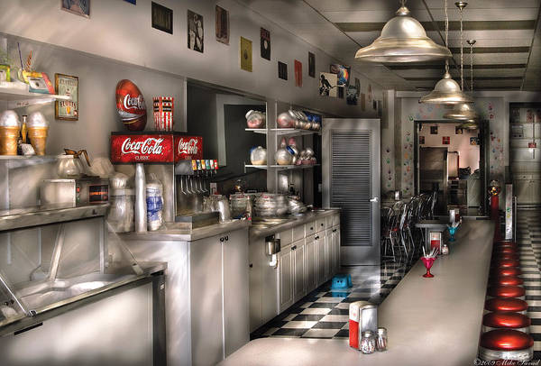 Checker Photograph - 1950's - The Soda Fountain by Mike Savad