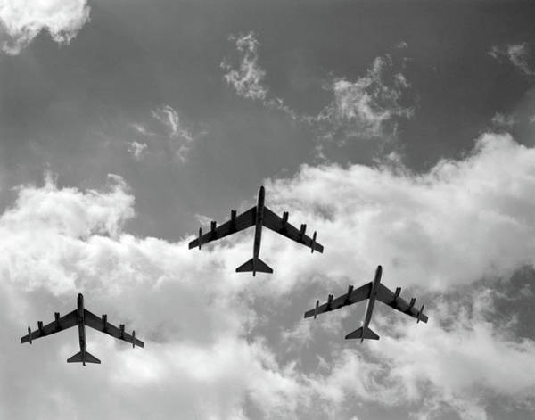 Wall Art - Photograph - 1950s Three B-52 Stratofortress Bomber by Vintage Images