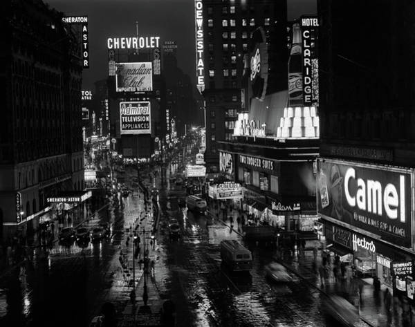 Crossroads Photograph - 1950s Times Square Night From Times by Vintage Images