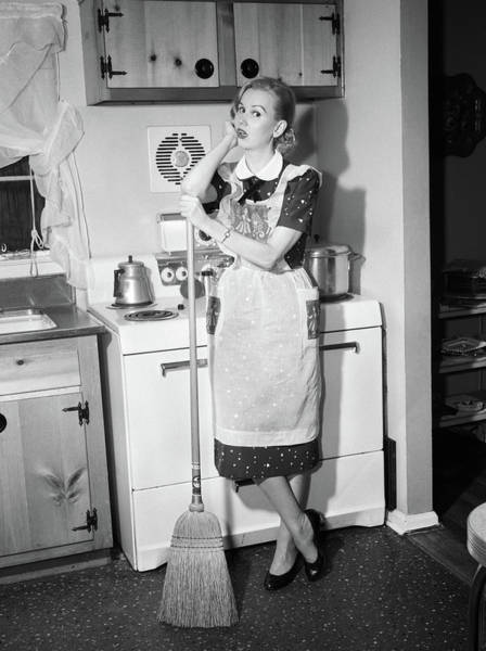 Weary Photograph - 1950s Tired Housewife In Apron Standing by Vintage Images