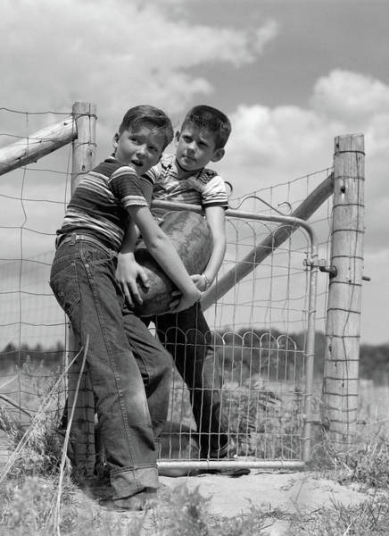 Water-melon Wall Art - Photograph - 1950s Two Farm Boys In Striped T-shirts by Vintage Images