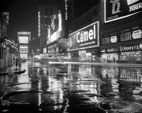 Wall Art - Photograph - 1950s Wet Rainy Streets Of Times Square by Vintage Images