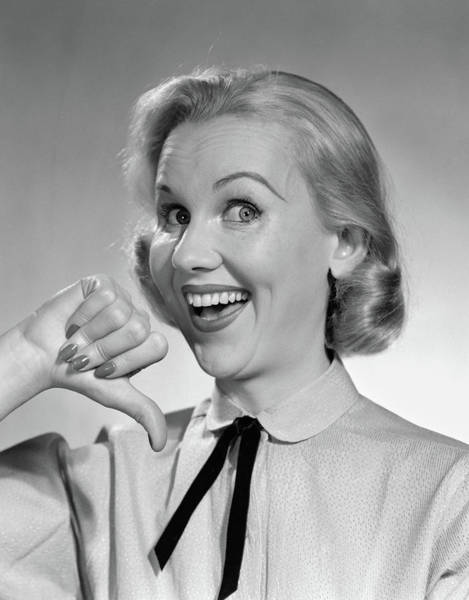 Self Confidence Photograph - 1950s Wide-eyed Smiling Blond Portrait by Vintage Images