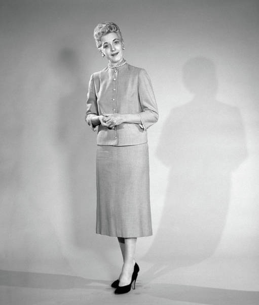 Wall Art - Photograph - 1950s Woman In Suit Looking At Camera by Vintage Images