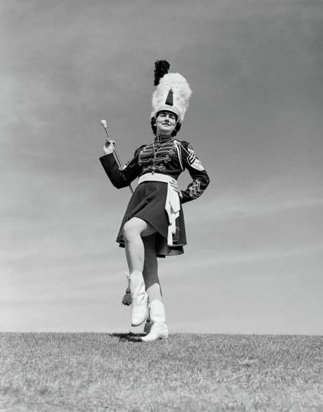 Wall Art - Photograph - 1950s Woman Majorette In Uniform by Vintage Images